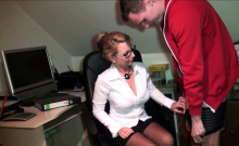 8 min porn Amateur with glasses fucking in office